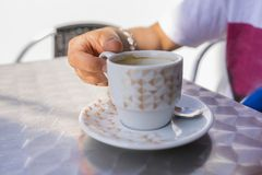 Cup of cofee. Detail to a cup of cofee stock photos