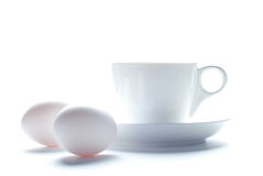 Cup of cofee and eggs for breakfast Royalty Free Stock Photos