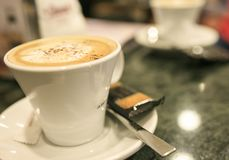 Cup of cofee with milk.  Royalty Free Stock Images