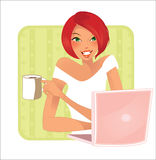 Cup of cofee- redhead Stock Photos