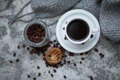 Cofee and sweet cupcake. Cup of cofee and sweet cupcake Stock Photography