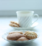 A cup of cofee or tea with biscuits. A white cup of cofee or tea with biscuits Royalty Free Stock Photos