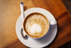 Cup of cofee. From top with heart on stock photos