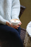 Cup of cofee in woman hands closeup Royalty Free Stock Image