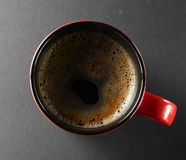 Cup of coffe. From above view on a dark background Stock Photos