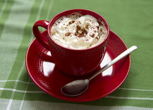 Cup of coffe. Cup of hot coffe with whipped cream Stock Image