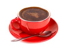 Cup of coffe. Red cup of coffe isolated on white Royalty Free Stock Photos