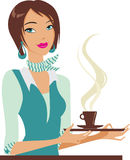 With cup of coffe. The secretary holds a coffee cup on a tray Stock Image