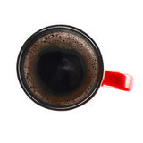 Cup of coffe from above. Isolated on the white Royalty Free Stock Photography