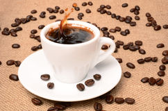 Cup of coffe. Aromatic coffee as a background closeup Royalty Free Stock Photos