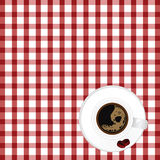 Cup of coffe with bean on tablecloth illustration Stock Images
