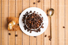 Cup of coffe beans Royalty Free Stock Photo
