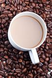 A cup of Coffe and coffee bean Stock Photos