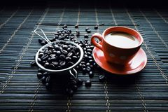 Cup of coffe with coffee beans stock photos