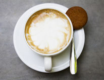 Cup of coffe. With cookies on table royalty free stock photo