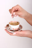 Cup coffe in der Hand Stockbild