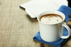 Cup of coffe with Digital tablet computer and smart phone Stock Photography