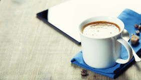 Cup of coffe with Digital tablet computer and smart phone Stock Images