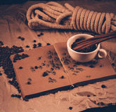 Cup of coffe on drawing book Stock Image