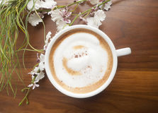 Cup of coffe with flower. On elegant wooden background Stock Photo