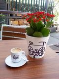 Cup of coffe and flowers. Cup of coffee and red flowers on wooden table Royalty Free Stock Image