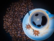 Cup and coffe grains Stock Photography
