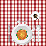 Cup of coffe with hamburger on tablecloth illustration Stock Image