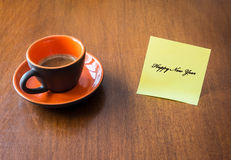 A cup of coffe. Happy new year with a cup of coffee Stock Photography