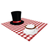 Cup of coffe with hat illustration on tablecloth Stock Photos