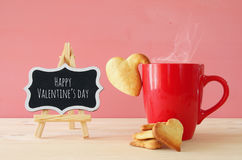 Cup of coffe and heart shape cookies Royalty Free Stock Images