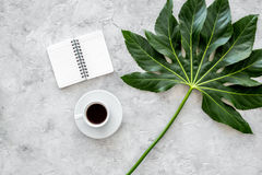 Cup of coffe near notebook and exotic palm leaf on light stone background top view Royalty Free Stock Photos