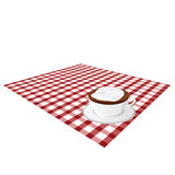 Cup of coffe on tablecloth illustration Stock Photos