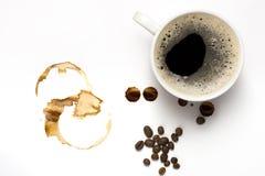 Cup coffe und Kaffeeflecke Lizenzfreies Stockfoto