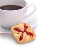 Cup coffe und Plätzchen Stockfotografie