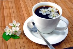 Cup of coffee. A white cup on the breakfast table Stock Images