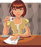 Cup of coffee. Vector pretty girl and cup of coffee Royalty Free Stock Photo