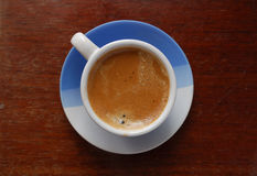 Cup of Coffee. Cup of espresso in blue-white cup royalty free stock images