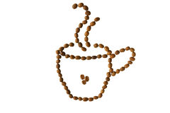 Cup of coffee. Cup of brown roasted coffee beans isolated on white background royalty free stock photos
