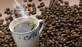 Cup of coffee. Delicious cup of hot coffee and savory Royalty Free Stock Photography