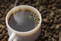 CUP OF COFFEE. Delicious hot cup of  coffee Stock Photos