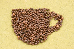 Cup coffee. Coffee beans texture Stock Image