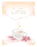 Cup of coffee. Background with cup of coffee and pink flowers Stock Image