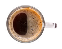 Cup of coffee. Top view of cup of black coffee. Isolation Royalty Free Stock Image