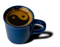 Cup coffee. With symbol jing jang Stock Photo