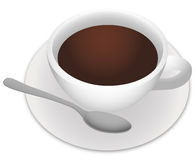 Cup of coffee. With a spun on a plate royalty free illustration