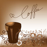 A cup of coffee. Brown background with a cup of coffee Stock Photos