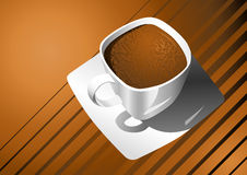 Cup of coffee. White cup of coffee against abstract background with place for text Royalty Free Stock Photos
