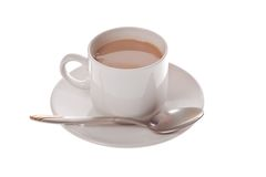 Cup of coffee. With spoon on white background Stock Images
