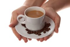Cup of coffee. And hand on white background Royalty Free Stock Photography