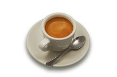 Cup of coffee. Cup of just brewed coffee. isolated on white Royalty Free Stock Images